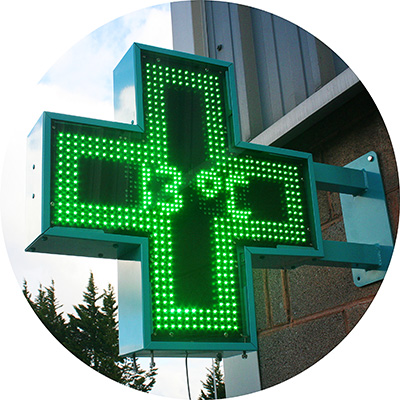 pharmacross led pharmacy sign on wall
